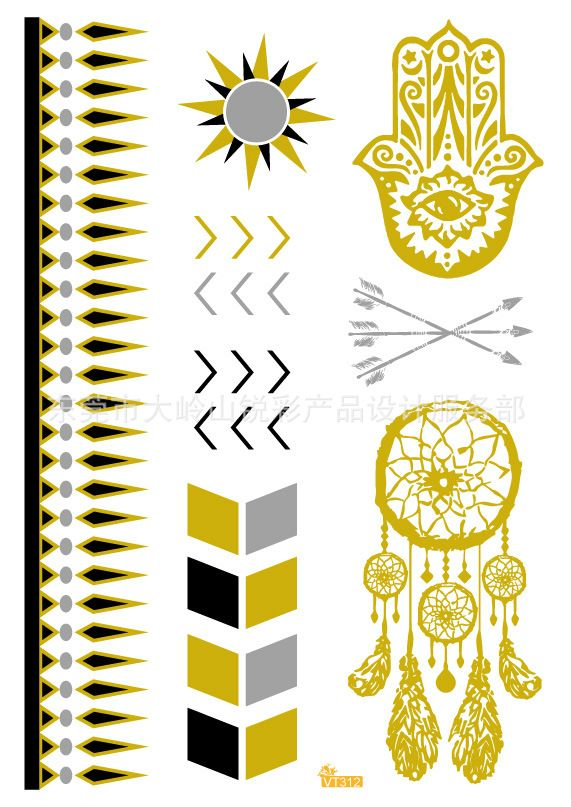 Golden Buddha Palm tattoo tribal elements bracelet pattern small fresh waterproof metallic tatoo temporary stickers VT312 #Affiliate