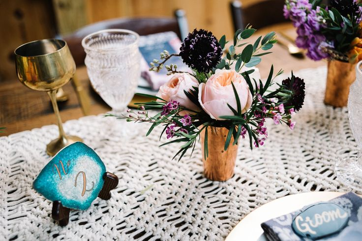 Centerpieces with copper cups, scabiosa, juliet garden roses, and macramé runner | Boho Meets Modern Styled Shoot | Annapolis & Eastern Shore, MD
