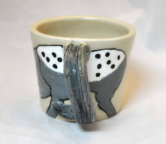 Wheel thrown Pottery Horse Head and Tail mug cup Horse Cowboy