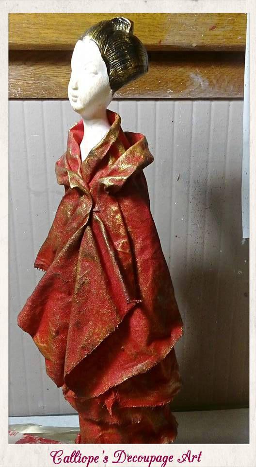 Διακοσμητικό αγαλματίδιο | Γυναικεία φιγούρα από την Ιαπωνική παράδοση | Calliope's Decoupage Art