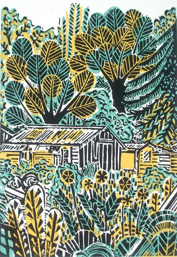 Wilderness with Shed Original Linocut Relief Print by Zebedeeprint