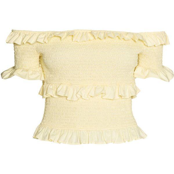 Off-the-shoulder Blouse $39.99 ($40) ❤ liked on Polyvore featuring tops, blouses, off the shoulder tops, short sleeve ruffle blouse, frilly blouse, short sleeve blouse and off shoulder tops