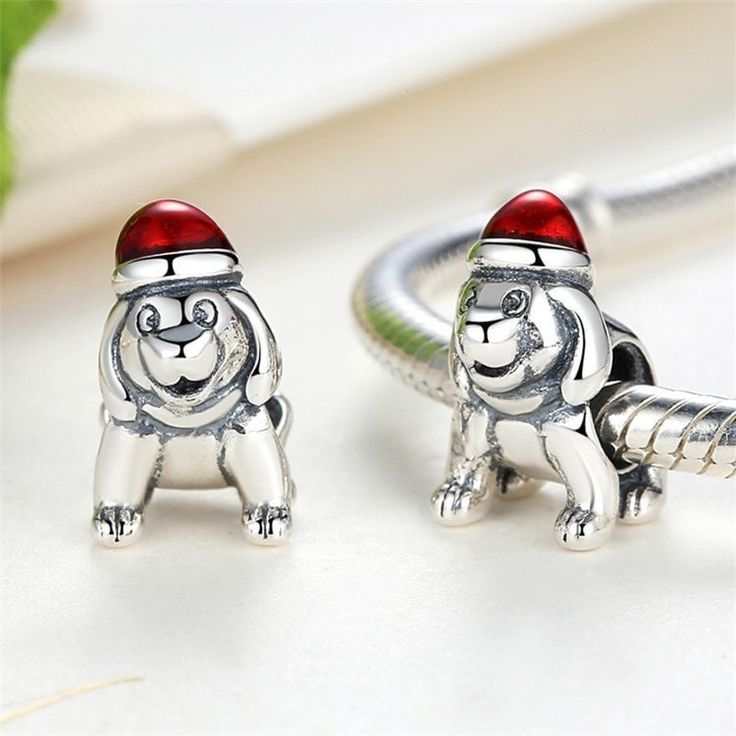 Charms   Silver Christmas Puppy Charm