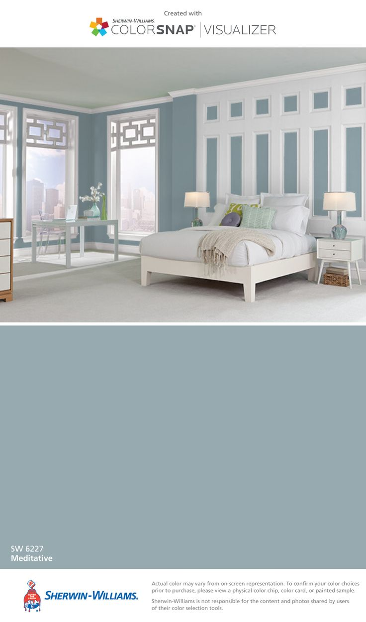 I found this color with ColorSnap® Visualizer for iPhone by Sherwin-Williams: Meditative (SW 6227).