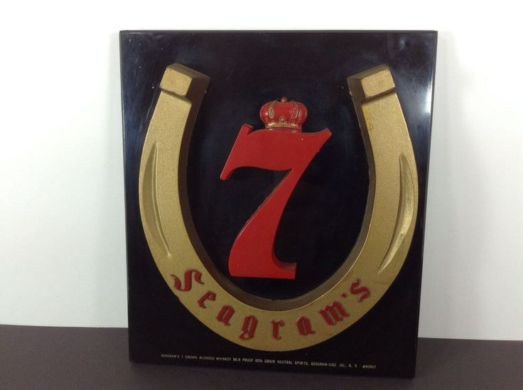 Seagram's 7 Whiskey Sign Horseshoe Vintage Bar Advertising Horse Racing #seagrams #whiskey #horseshoe #vintage #bar #mancave #pub #advertising #horseracing #luckyhorseshoe #sign