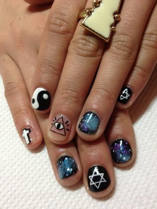 55 best nail art images on pinterest nail art black and white lov e the ying yang cross galaxy nailst for the creepy symbolism though prinsesfo Gallery