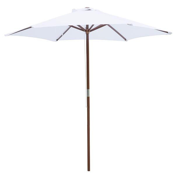8 Foot Patio Furniture Wood Market Umbrella White $34.99