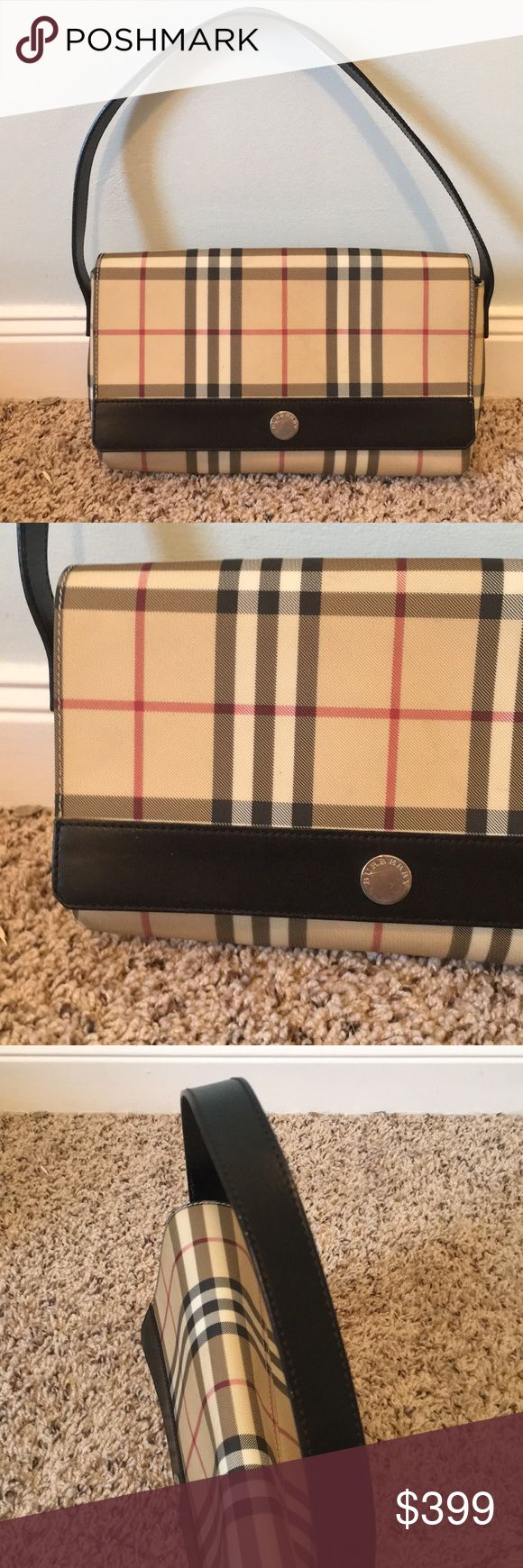 "BURBERRY nova check Shoulder Bag Authentic Berberry nova check bag with black leather accent in good used condition, silver hardware. Strap is perfect, hardware is functional and smooth. Small pen stain on the interior flap of the bag please see detailed photo for close up. 11 1/2"" x 6"" with 7 inch strap drop. CDH Burberry Bags Shoulder Bags"