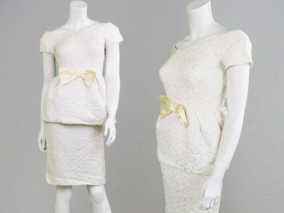 Vintage 50s Dress White Peplum Dress Wiggle Dress by ZeusVintage