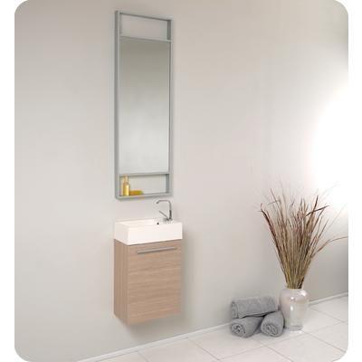 Fresca - Pulito Small Light Oak Modern Bathroom Vanity With Tall Mirror -