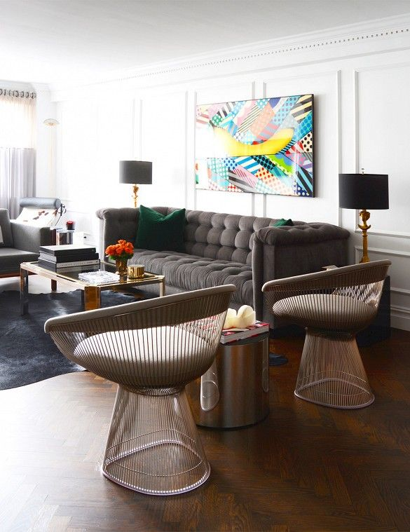 living room (Home Tour: A New York Stylist's Cool Contemporary Home via @domainehome)