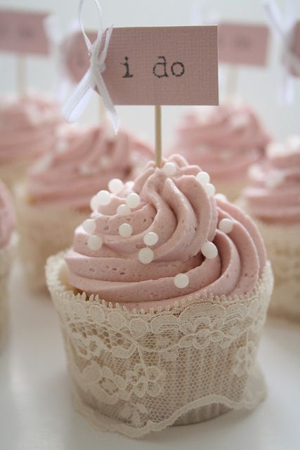 lace around a cupcake wrapper - not just for weddings...