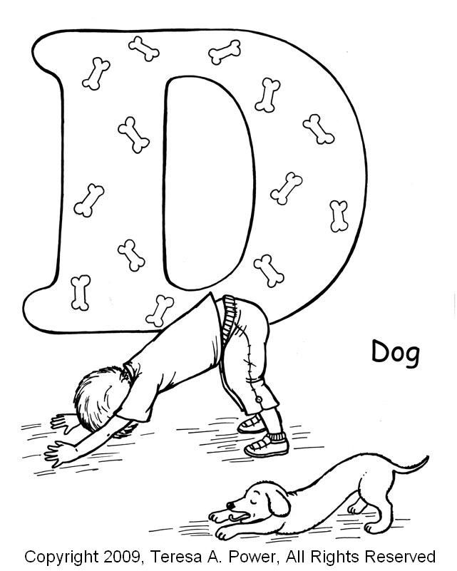 ABC Yoga for kids, a great book, kids love it!  Now there are coloring pages to go with the book.  D-dog-coloring-page.jpg 641×801 pixels