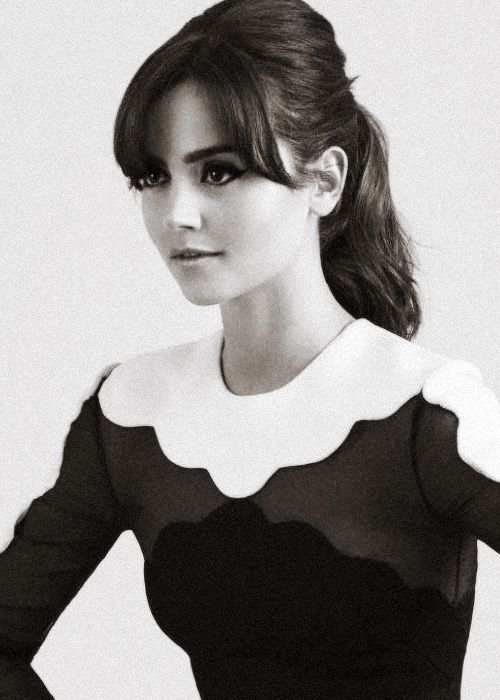 Jenna Louise Coleman Glamour UK (11/2013). high ponytail and parted bangs