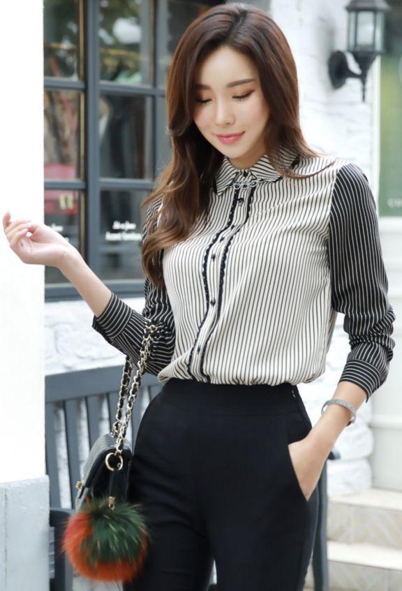 StyleOnme_Lace Trim Pinstripe Collared Blouse #blackandwhite #pinstripe #stylish #blouse #koreanfashion #kstyle #kfashion #dailylook #seoul #falltrend