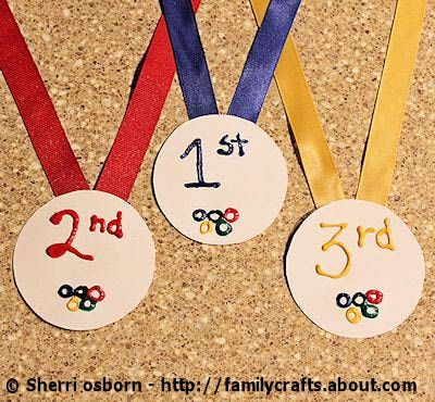 Kid Crafty Olympic Medals  These puff paint medals are fun to craft and fun to receive. Host your own ceremony after a few rounds of hurdles.  Get the instructions over at Family Crafts.