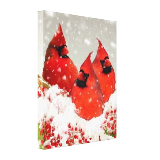 Oil Painted Winter Red Cardinals Canvas Prints