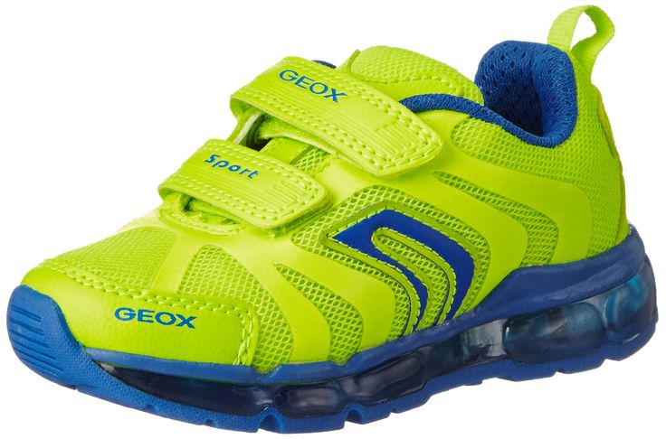 Geox Boys J Android 12 Lighted velcro strap sneaker, Fluo Yellow/Royal, 29 EU/11 M US Little Kid