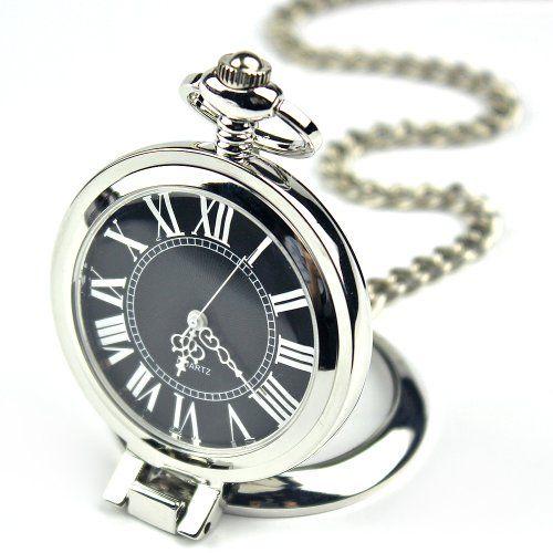 7. Armel Fashion Stainless Steel Case Roman Numbers Modern Pocket Watch Black PW052