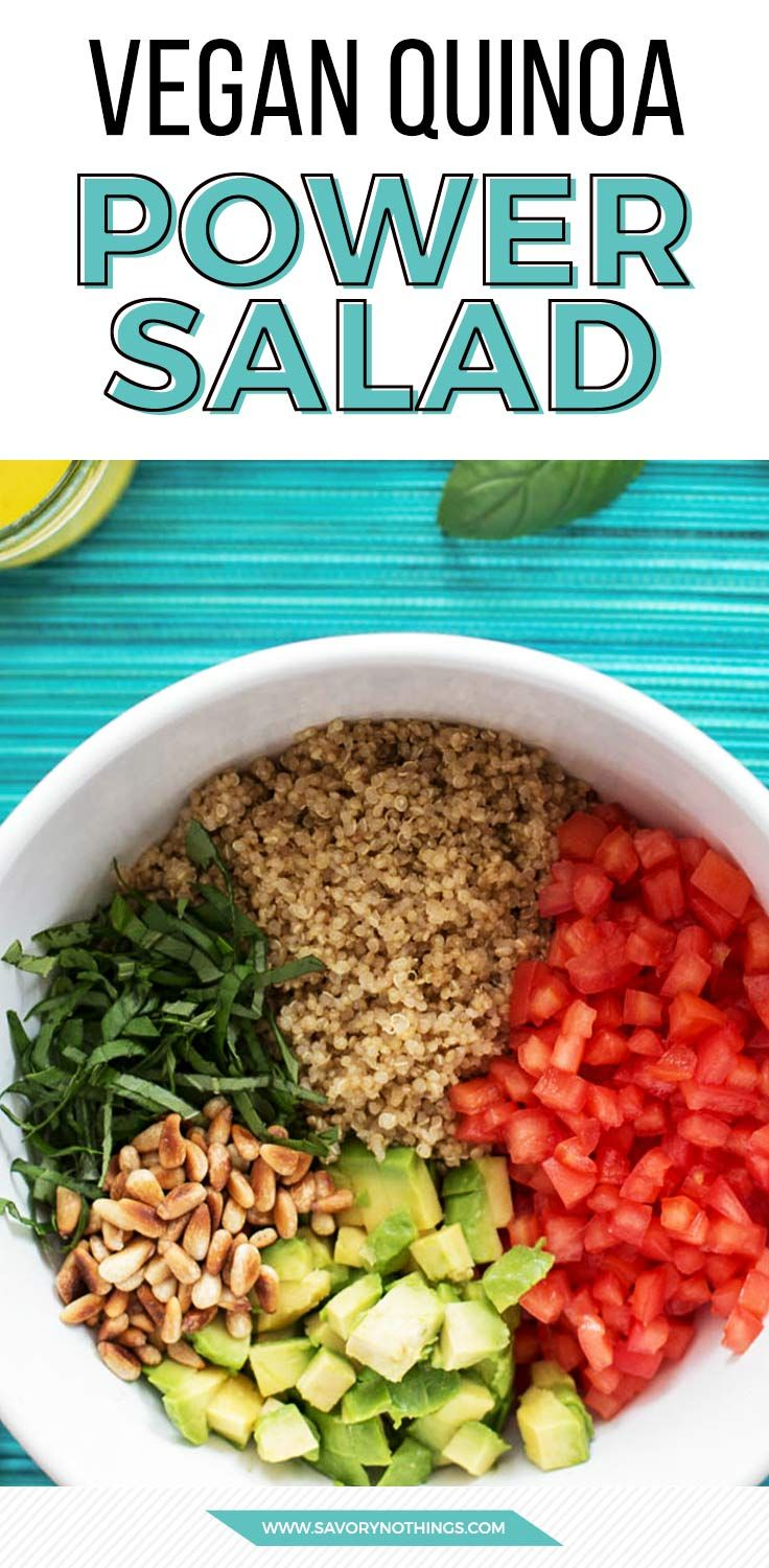 The ultimate cold quinoa salad for summer! Easy recipe with awesome mediterranean flavors, plus it's vegan and super healthy! Love the creamy avocado in there.