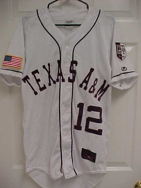 f0447042 TEXAS A&M AGGIES 12th Man Foundation White Stitched Baseball Jersey S  Rawlings #Rawlings #TexasAMAggies