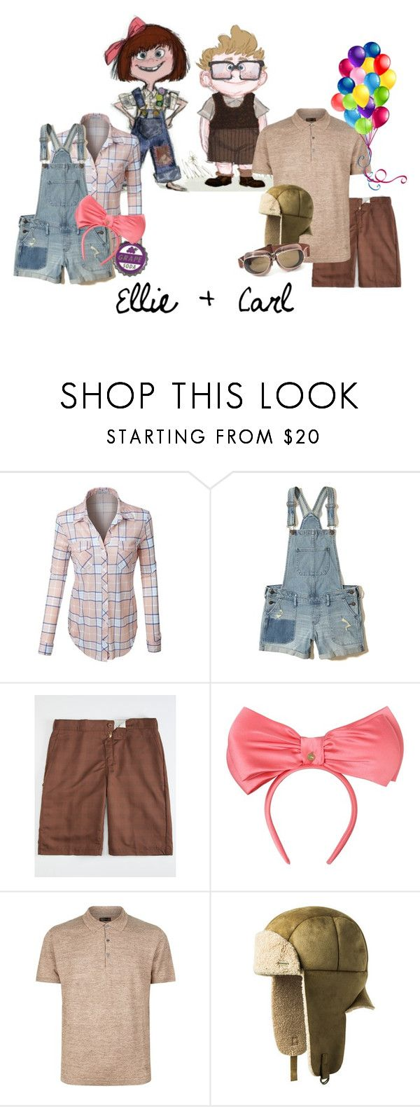 """""""Ellie and Carl Fredrickson"""" by krgood7 ❤ liked on Polyvore featuring LE3NO, Hollister Co., Dickies, Federica Moretti, Corneliani, kangol, dug, Kevin, russel and paradisefalls"""