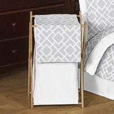Found it at Wayfair - Diamond Gray and White Laundry Hamper