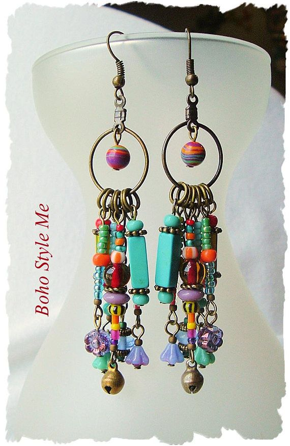 Boho Colorful Fun Earrings Playful Bohemian Dangle Earrings