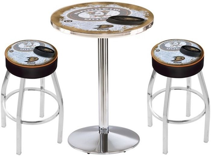 Anaheim Ducks NHL D2 Chrome Pub Table Set. Available in 28-inch or 36-inch diameter Table Top. Visit SportsFansPlus.com for details.