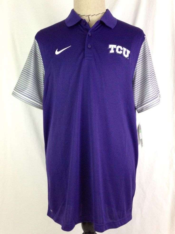 Nike TCU Horned Frogs Mens Polo Shirt 2XL Golf Purple Gray Big 12 Football NWT #Nike #TCUHornedFrogs