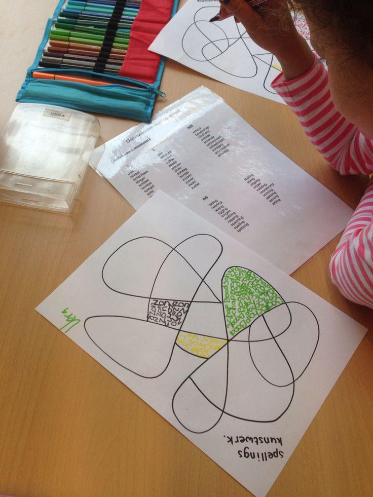 Taal: onderdeel uit spellingscircuit: spellingskunstwerk met woorden uit woordpakket