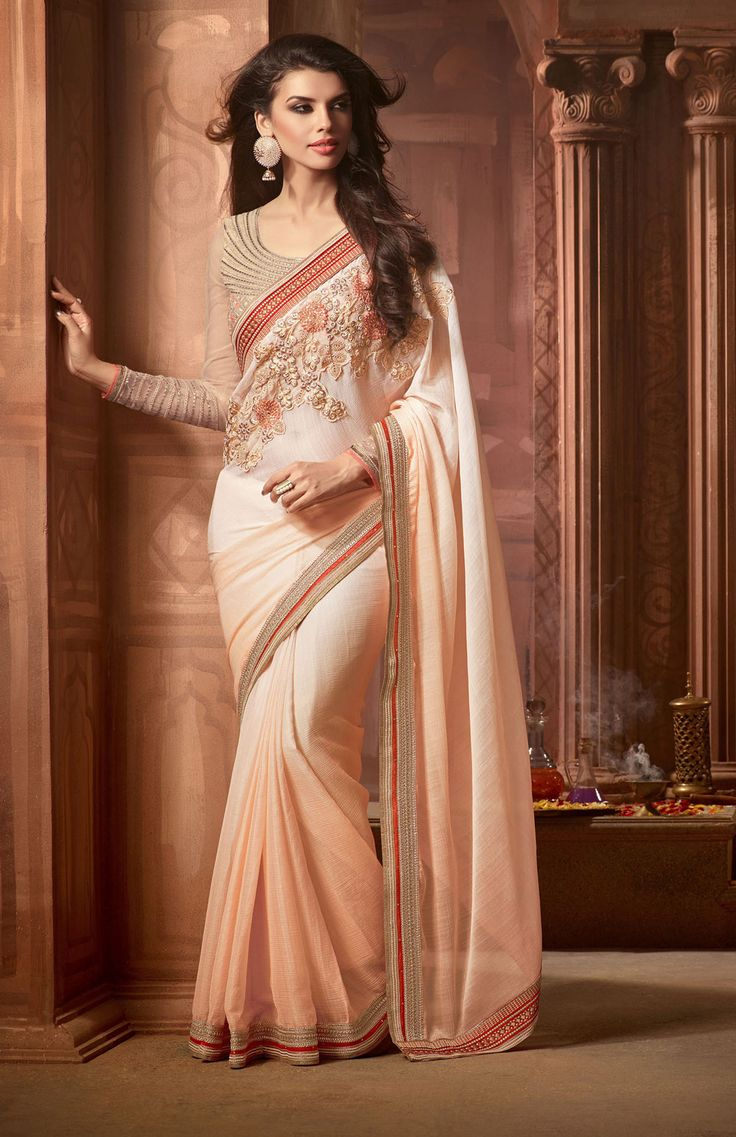 Cream Chiffon Party Wear Saree 66975                              …