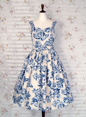 blue and white flowers tea party dress #blue #wedding #bridesmaids