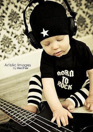 Punk Rock Baby Boy Rockstar Kit black romper one piece layette leg warmers hat gift box YOU CHOOSE IMAGE. $34.00, via Etsy.