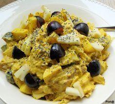 Pieta's hapjes: Kip kerrie salade met blauwe druiven, appel en maanzaad