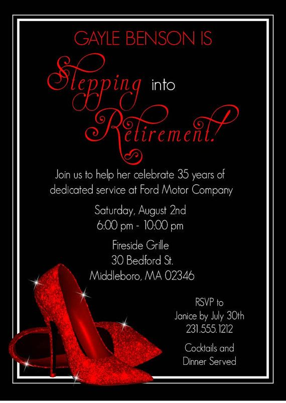 Red Glitter Shoes Retirement Invitation Perfect For Anyone