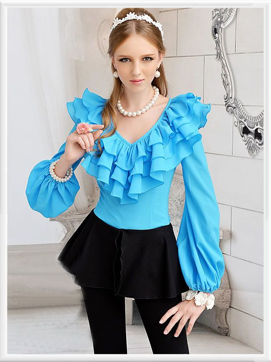 Morpheus Boutique  - Blue Ruffle Chiffon V Neck Layer Long Sleeve Shirt