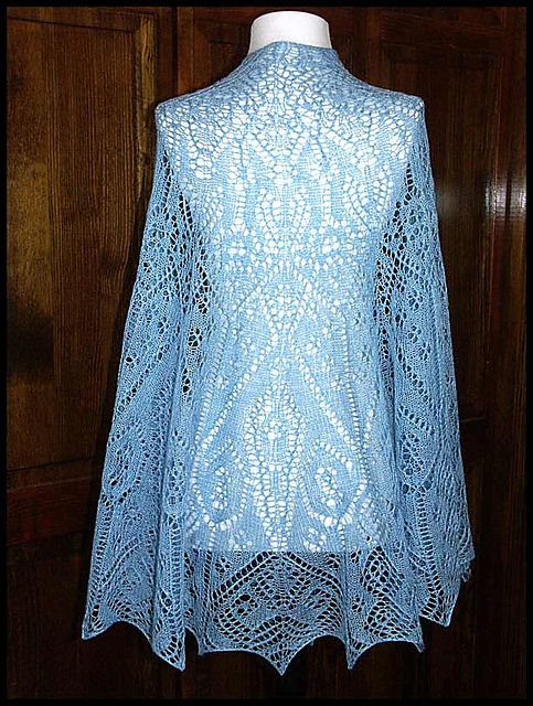 """""""White Snows of Winter"""" knit lace shawl in wool/silk lace weight yarn (pattern by Kate Poe)"""