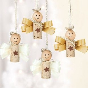 diy Christmas tree decorations - angels made with Corks