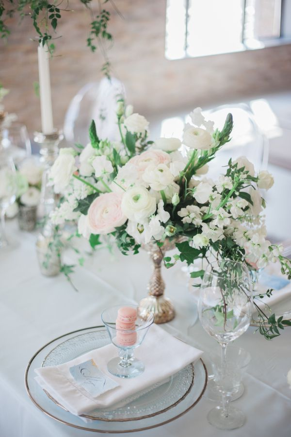 Pretty jasmine floral centerpiece: http://www.stylemepretty.com/canada-weddings/ontario/niagara-on-the-lake-ontario/2016/05/02/all-the-inspiration-you-need-for-your-jasmine-filled-wedding/   Photography: Gemini Photography - http://geminiphotographyontario.com/