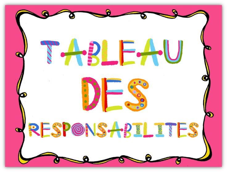Affiches pour présenter les responsabilités/métiers de la classe.