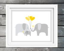 INSTANT DOWNLOAD, elephant family yellow and grey nursery art, unisex baby room print, gender neutral babys room sign, baby elephant art