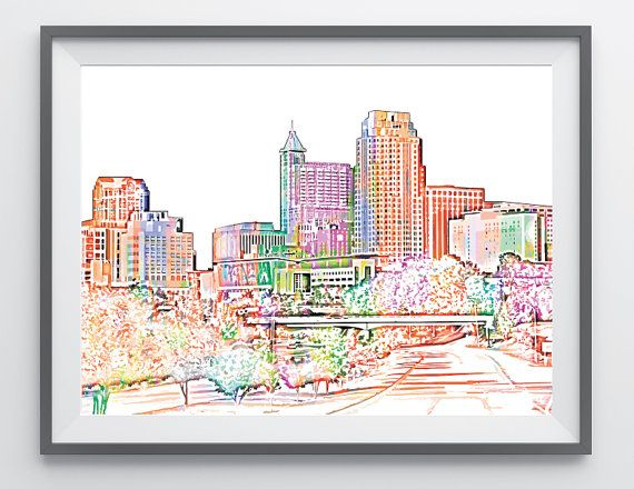 Raleigh Downtown Skyline Color Poster Print 18x24, Raleigh North Carolina Capital City Canvas Artwork, Digital Skyline Picture Photo