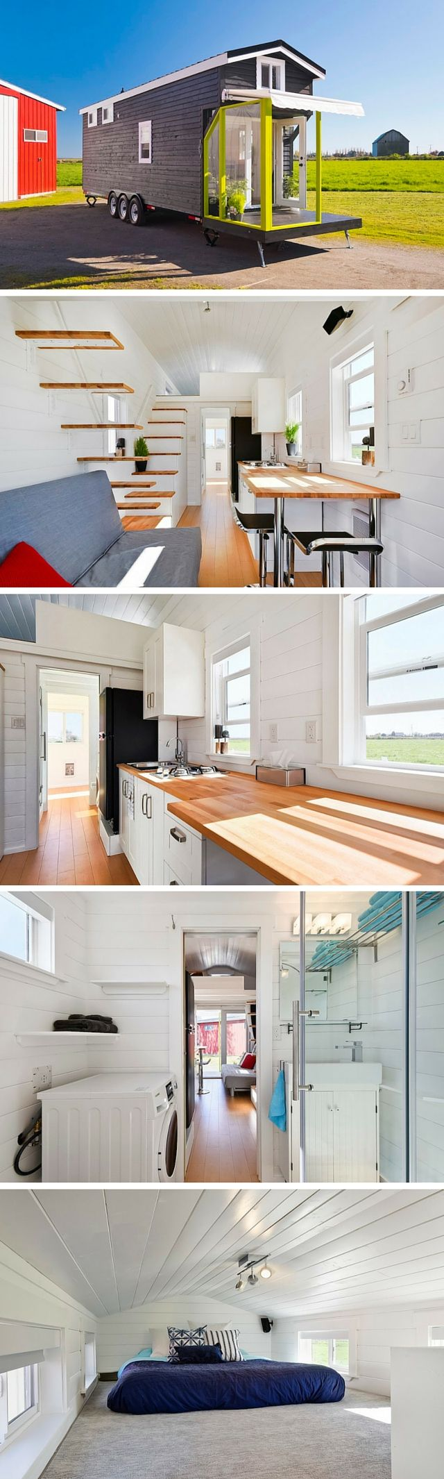 A custom tiny house on wheels from Tiny Living Homes. This 310 sq ft home has two lofts! #containerhome #shippingcontainer