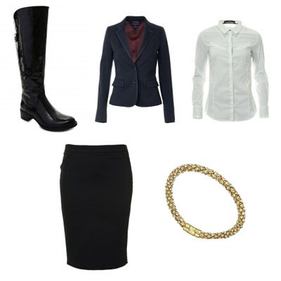 Fall elegant set based od white classic shirt, black pencil skirt and boyfriend jacket.