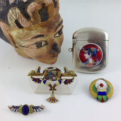 Mini collection of Egyptian Revival jewellery. Love the colours and fine enamel details in these pieces!