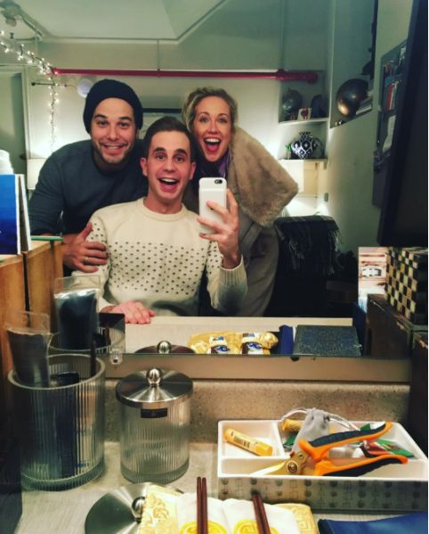 "At last night's performance, Ben's former Pitch Perfect co-stars Skylar Astin and Anna Camp stopped by. And how cute is this picture?!? | This Mini-""Pitch Perfect"" Reunion At ""Dear Evan Hansen"" Is Too Cute"