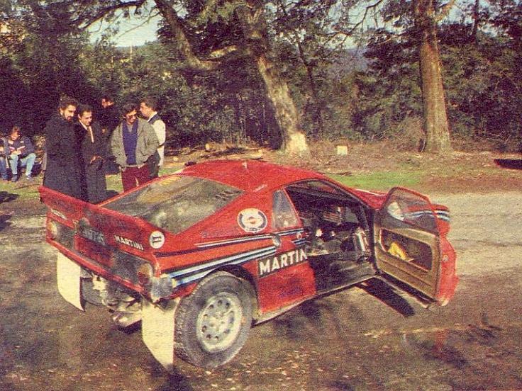 Test Rally Portugal de 1985. Lancia Rally 037. En la parte izquierda de la imagen se puede ver a Markku Alén sentado. (Foto identificada gracias a Dario Talmellil, mecánico en esos tiempos del Equipo Lancia Martini, mis máximos agradecimientos)