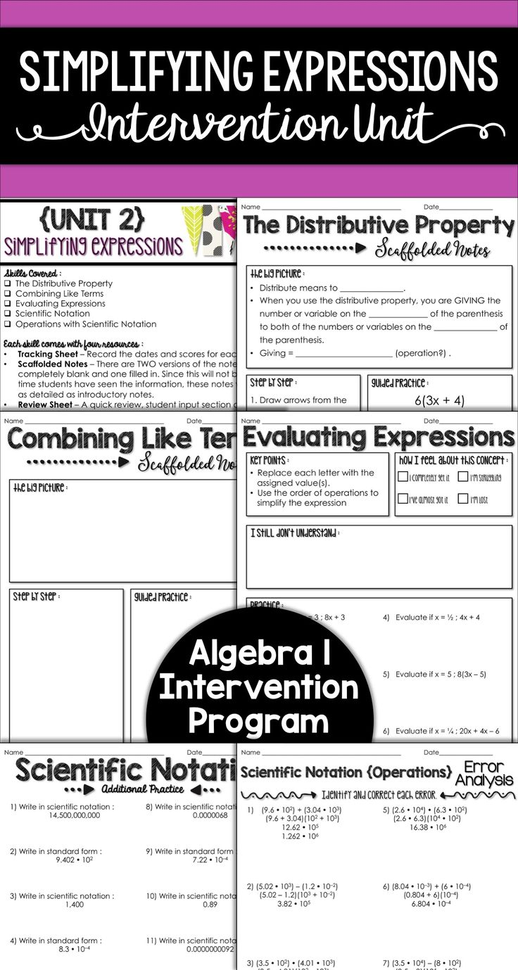 This unit focuses on simplifying expressions. These skills are not taught in an Algebra 1 course, but students must have a strong knowledge of operations with expressions in order to build into Algebra 1 success. This unit would be a great intervention tool for grades 7 and 8 as well.
