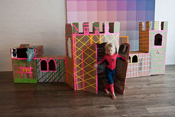 We can't think of a better way to spend an afternoon than building this colorful cardboard castle with your kids.